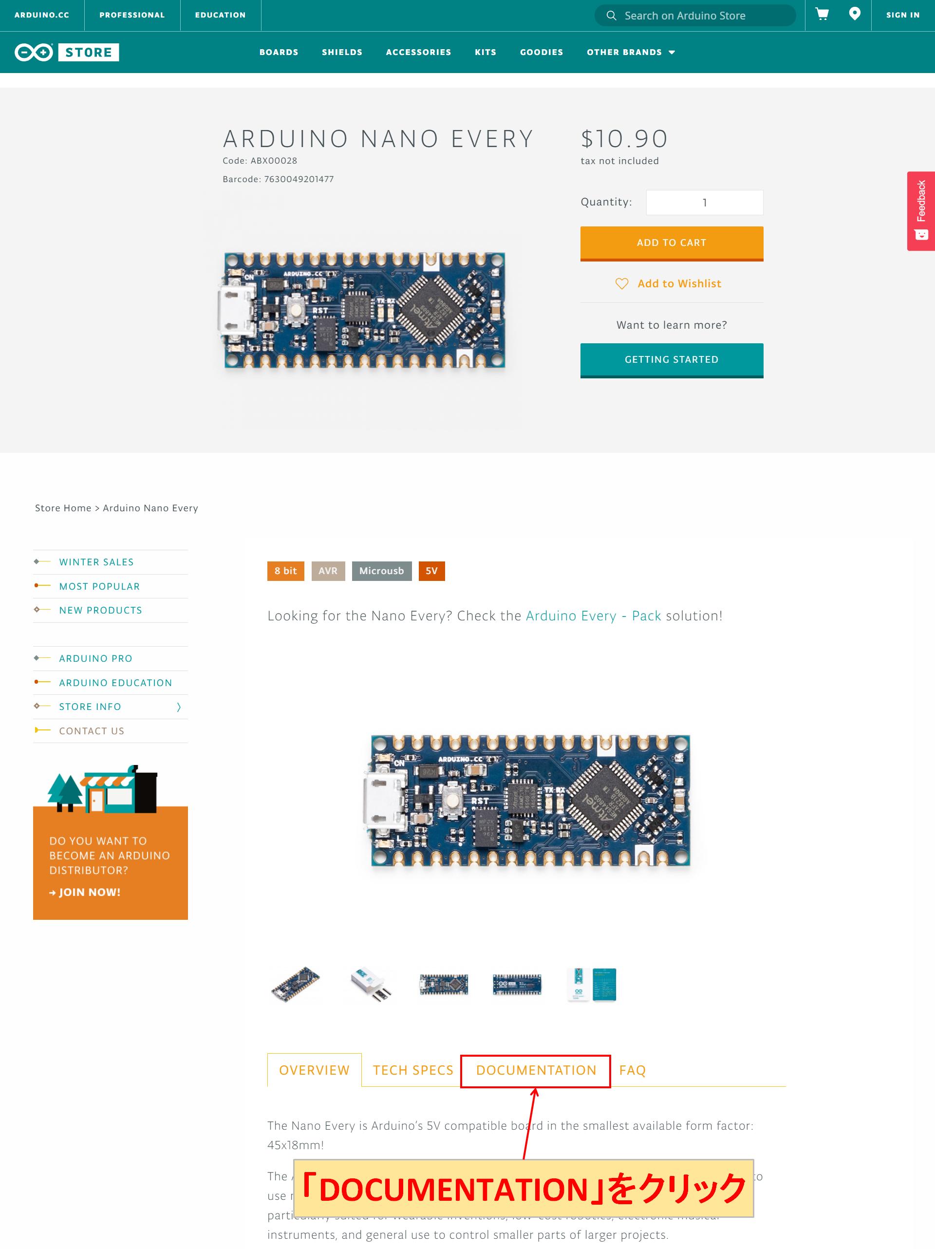 Arduino Nano Every DOCUMENTATION