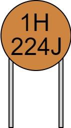 リード付きコンデンサ 数字表示 224J 1H 読み方