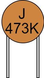 リード付きコンデンサ 数字表示 473K J 読み方