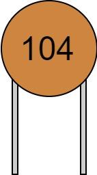 リード付きコンデンサ 数字表示 104 読み方