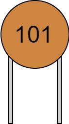 リード付きコンデンサ 数字表示 101 読み方