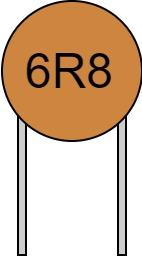 リード付きコンデンサ 数字表示 6R8 読み方