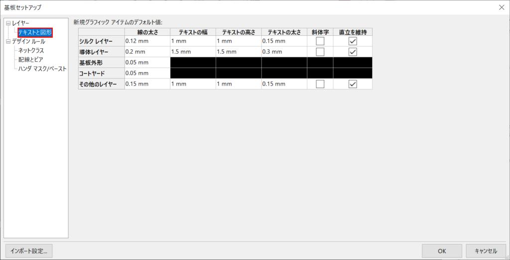 KiCad Pcbnew 基板セットアップ テキストと図形