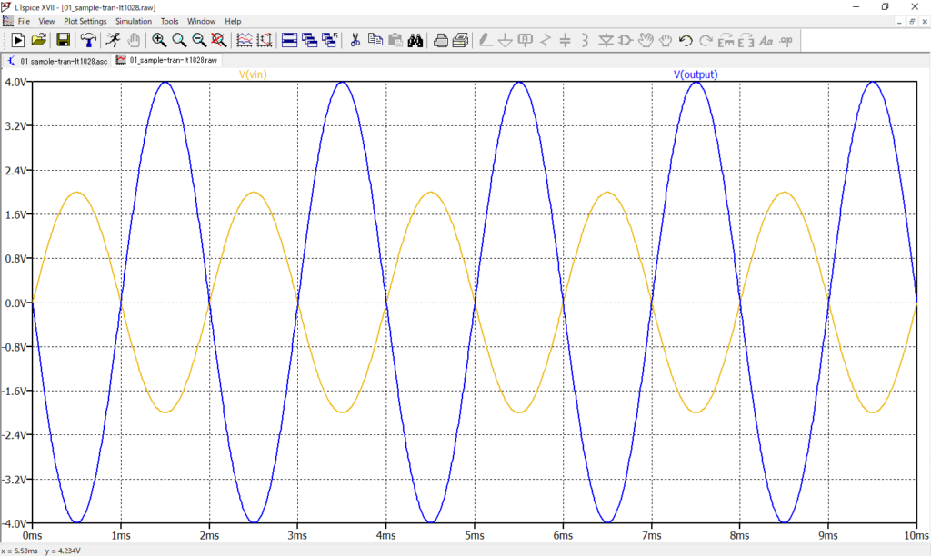 LTspice XVII 電圧波形 拡大