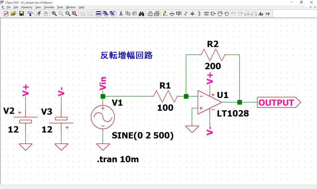 LTspice XVII 01_sample-tran-lt1028.asc 開く