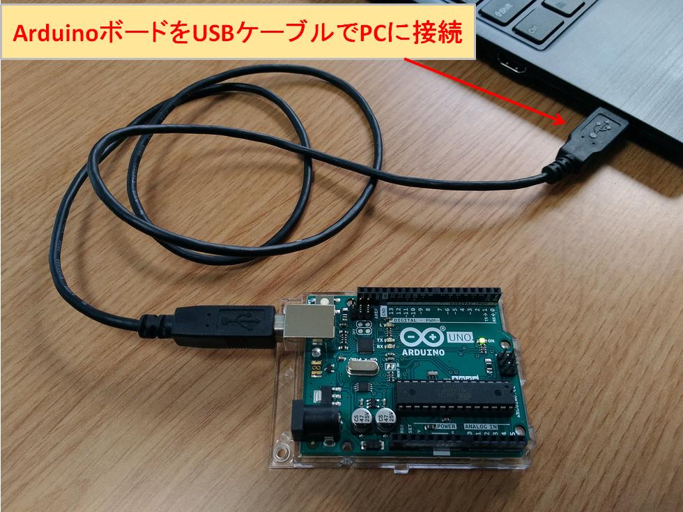 PC Arduinoボード USBケーブル接続